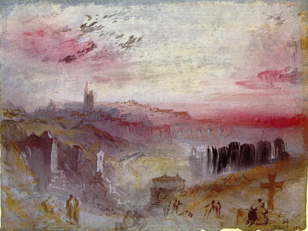 View over Town at Sunset, a Cemetery in the Foreground 1832