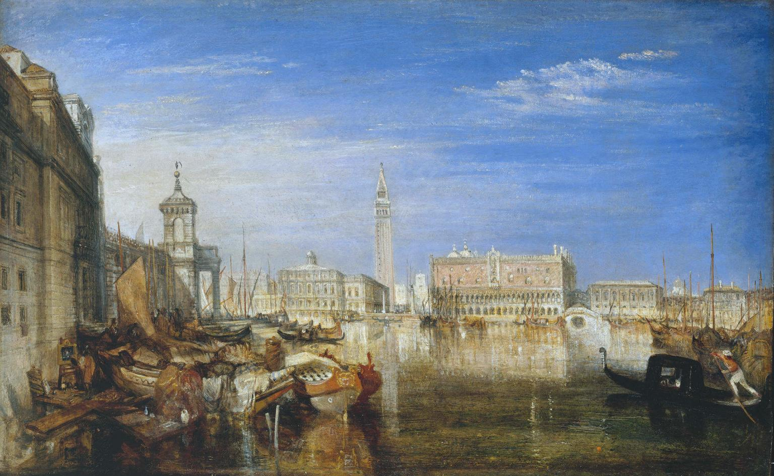 Bridge of Sighs, Ducal Palace and Custom House, Venice Canaletti Painting 1833