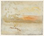 Sunset Seen from a Beach with Breakwater 1845
