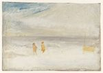 Two Figures on a Beach with a Boat 1845